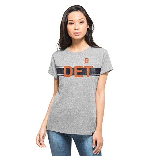 ('47 MLB Detroit Tigers Women's Super Hero Tee, Medium, Vintage Grey)