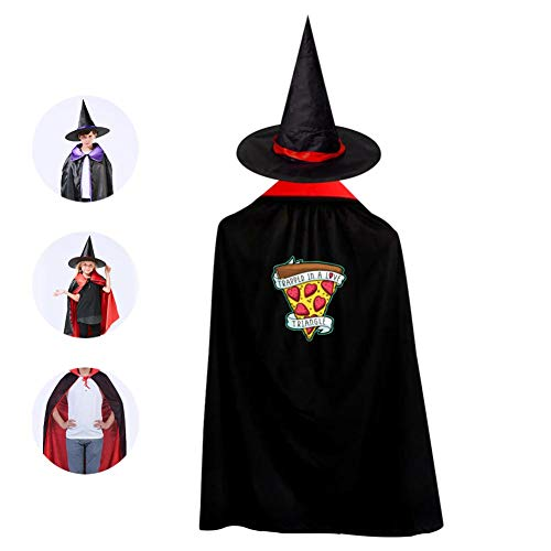 Kids Cartoon Fruit Pizza Halloween Costume Cloak for Children Girls Boys Cloak and Witch Wizard Hat for Boys Girls Red