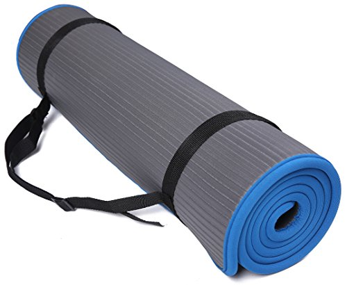 BalanceFrom BFGP-10GY GoFit All-Purpose 10mm Extra Thick High Density Anti-Slip Exercise Pilates Yoga Mat with Carrying Strap