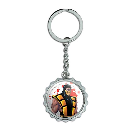 Mortal Kombat Klassic Scorpion Character Chrome Plated Metal Pop Cap Bottle Opener Keychain Key Ring