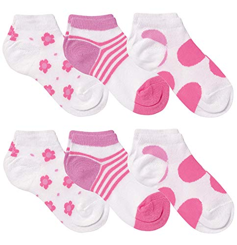 Country Kids Girls' Little Fun Summer Low Cut No Show Sneaker Liner Socks, Pack of 6, White/Pink, 2-4 years (shoe size 6-11.5) ()