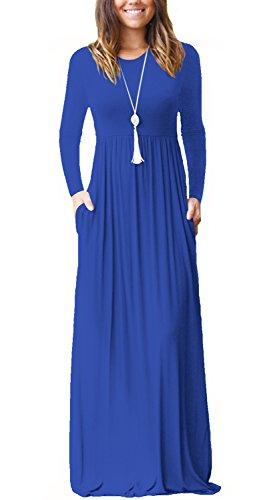 Women's Autumn Round Neck Dress Solid Color Ladies Casual Dress - 5