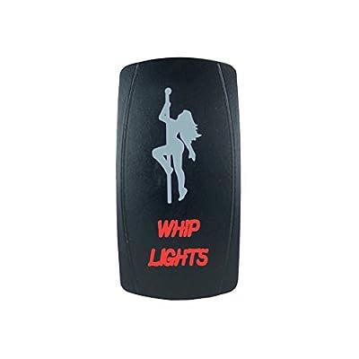 Laser Backlit Red Rocker Switch Girl Whip Lights 20A 12V On/Off LED Light STV Motorsports: Automotive