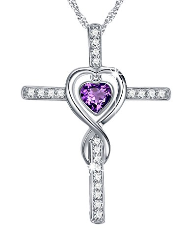 Love Infinity Cross Necklace Gifts for Women Amethyst Fine Jewelry Anniversary Birthday Gift for Her Wife for Daughter Girlfriend Fiancee Sterling Silver Swarovski 18
