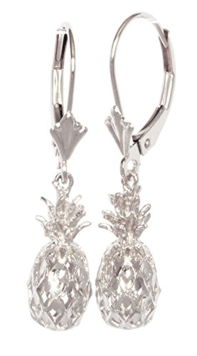 14K Solid White Gold Hawaiian 3D Pineapple Leverback Earrings