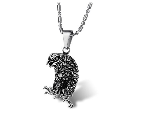 KATGI Stainless Steel Ti Black American Flying Eagle Pendant Necklace (Pendant Cut Eagle Out)