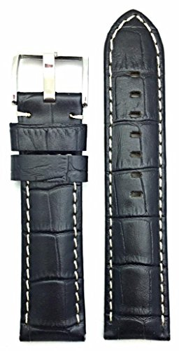 24mm Thick Watch Band Leather Long, Black, Panerai Style   Medium Padded, Alligator Crocodile Grained Replacement Wrist Strap with Off-White Stitch that brings New Life to Any Watch (Mens Long ()