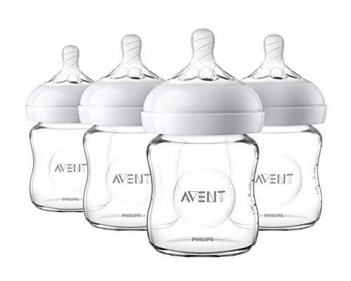 Philips Avent Natural Glass Baby Bottle, 4oz, 4pk, SCF701/47]()