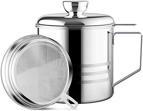 Haosens 1200ml Filtro Aceite Cocina Acero Inoxidable, Graseras de Cocina con Malla Fina Colador y Tapa para Grasera, Aceite Usado