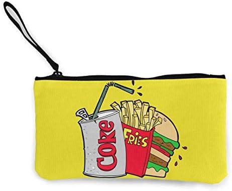 Monedero Comida chatarra y una Coca-Cola Light Estuche de lápices de Maquillaje de Viaje Lindo con Mango Caja de lápices de Lona con Efectivo 4.7