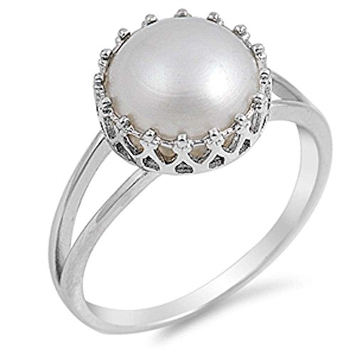 Crown Simulated White Pearl .925 Sterling Silver Ring Sizes 4-11