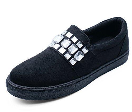 Mujer Negro Plano Sin Cordones Libélula Color Zapatillas Informal Cómodo Mocasines Zapatillas Número 3-8 - Negro, 42 EU: Amazon.es: Zapatos y complementos
