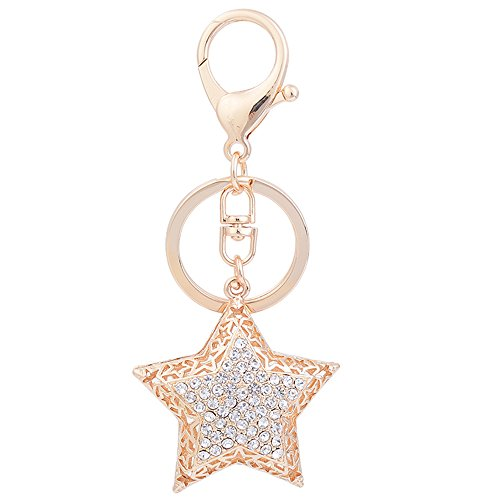 Rhinestone Five-pointed star Shape Crystal Automotive Key Chains Ring Tassels keychain Or clip bulk Women handbag charms Ornaments Pendant A birthday present Gift (Red) ()