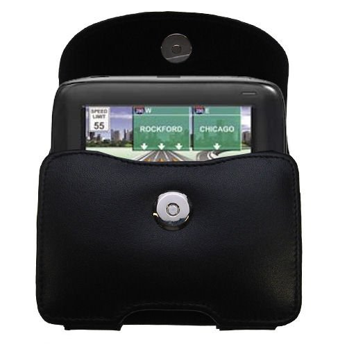 Gomadic Brand Horizontal Black Leather Carrying Case for the Navigon 2100 with Integrated Belt Loop and Optional Belt Clip