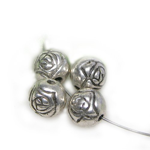 (GEM-inside Bali Style Silver Plated CCB Antique Tibetan Spacer Beads Jewelry DIY Charms Pendants Loose Beads Findings Accessories 50 Pcs 8mmx8mm Hole 2mm)
