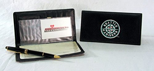 MLB Seattle Mariners Embroidered Genuine Cowhide Leather Checkbook (Seattle Checkbook Cover)