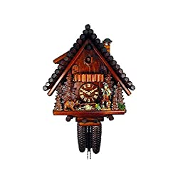 August Schwer Authentic Cuckoo Clock Black Forest House with Hunter and Bear 8-Day Movement