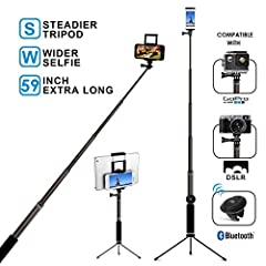 EXTRA-LONG ARM FOR WIDER SCENERY Extendable from 15 inches to 59 inches. EXTRA-WIDE HOLDER Stable cellphone holder adjustable from 5.2 inches to 7.9 inches compatible with most smartphones. BLUETOOTH REMOTE WITH ZOOM FEATURE Removable remote ...