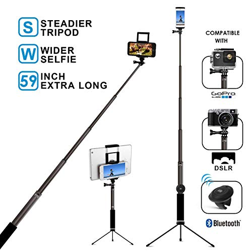 Bluetooth Selfie Stick with Tripod, Remote 59Inch MFW Extendable Monopod with Tripod Stand for iPhone X/XS max/XR/XS/8/7/6/Plus,Tablet,Samsung S7/S8/S9,Android,GoPro Cameras