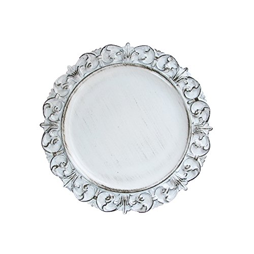 ChargeIt by Jay Embossed Antique Charger Plate, White by ChargeIt by Jay