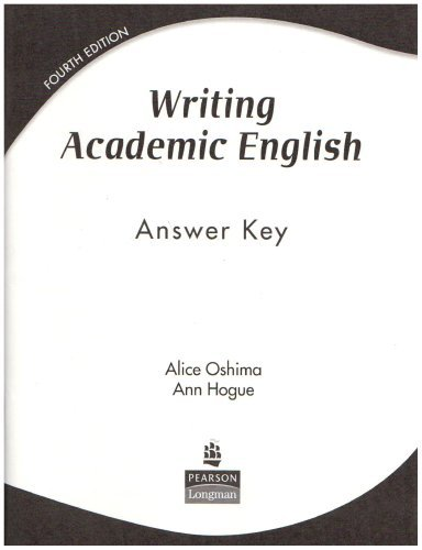 Read Online By Ann Hogue Writing Academic English: Answer Key (4th Revised edition) [Paperback] PDF