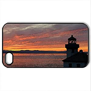 Calm Before The Storm - Case Cover for iPhone 4 and 4s (Lighthouses Series, Watercolor style, Black) by icecream design