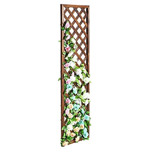 Etonnant MyGift Rectangular Wood Garden Trellis, Wall Mounted Lattice Plant Screen