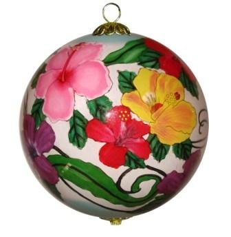 Maui by Design Colorful Hibiscus Hawaiian Christmas Ornament Hand Painted Glass with Gift Box 15B//H