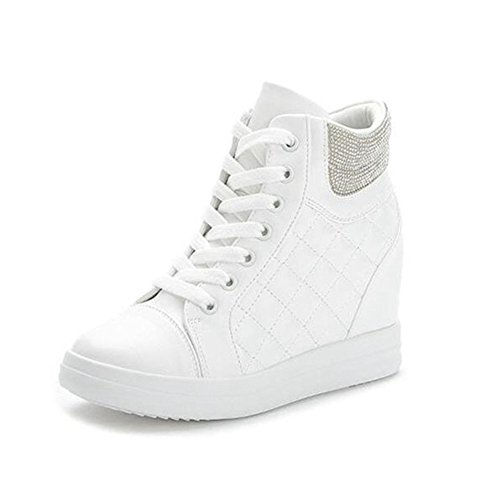 Cheap Btrada Women's Wedge Heel Sneaker High Top CZ Athletic Running Shoes Lace Up Walking
