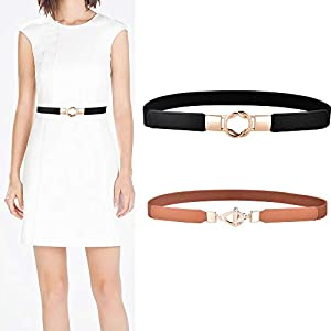 Talleffort 2 Pack Women Vintage Elastic Stretchy Alloy Buckle Skinny Waist Cinch Belt for Girls