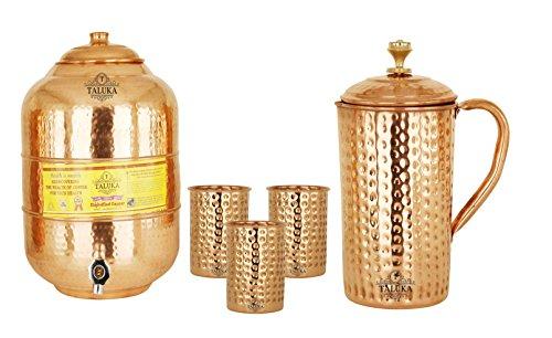 Copper Hammer Jug Pitcher 1.7 Liter with Water Pot 6 Liter Tank 3 Glass 350 ML