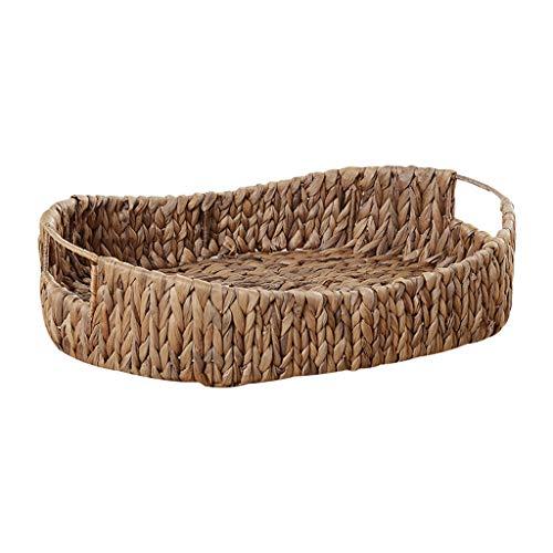 Z55 Pack (Zhao Xiemao Pastoral Straw Storage Basket Change Storage Basket Fabric Rattan Storage Basket Desktop Jewelry Key Basket, Hand-Woven Z-55 (44cm30cm9cm))