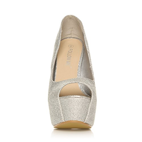 PEEPTOE Silver Glitter Stiletto Very High Heel Platform Peep Toe Shoes adiPX