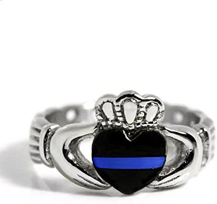 Thin Blue Line Claddagh Stainless Steel Ring with Celtic Rope Design