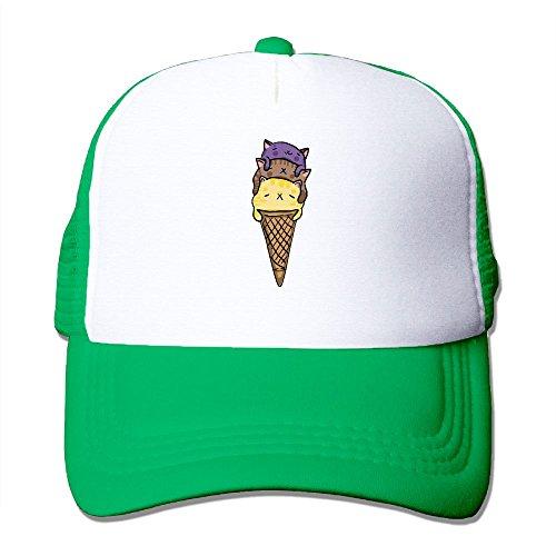 Wzfa Cats Ice Cream Mesh Hat Trucker Caps KellyGreen - Kitchenaid Outdoor Refrigerator
