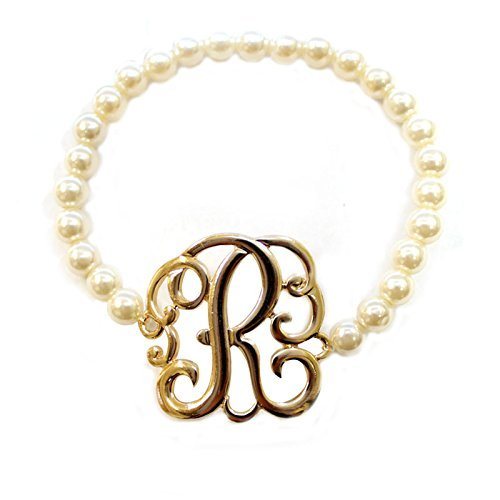 [R] Handmade Gift Initial Monogram with Pearl Stretch Bracelet - Pearl Initial Bracelet