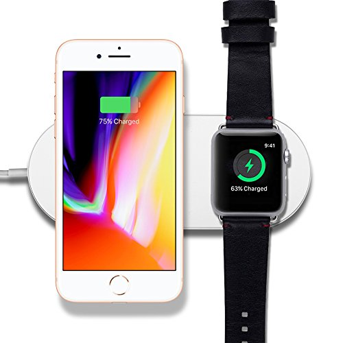 2in1 Wireless Charger, Dual Charging Units Simultaneously for Apple Watch Series 3/2 and iPhone X/8/8 Plus or Samsung Galaxy S9/S8/Plus/S7EDGE, Klearlook Fast Charging Pad for Qi-Enabled handset.