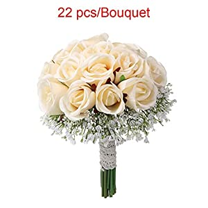 Escolourful Bridal Wedding Bouquet, Handmade 22PCS Artificial Gypsophila Rose Flower with Lace for Wedding Home Party DIY Decoration 41