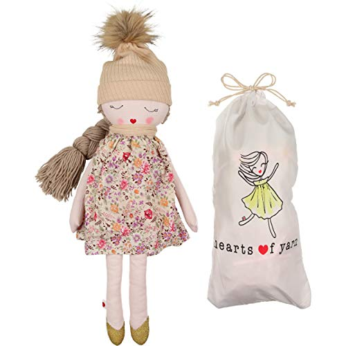 "Hearts of Yarn Stuffed Plush Outdoor Doll for Girls Soft Sleeping & Cuddle Buddy for Toddlers, Infants & Babies | 19"" Tall-Extra Large, Handmade First Baby Doll & Toy 