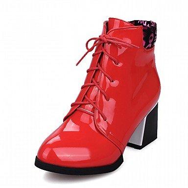 RTRY Zapatos De Mujer De Piel Sintética Pu Novedad Moda Otoño Invierno Confort Botas Botas Chunky Talón Señaló Toe Botines/Botines Lace-Up Para US5.5 / EU36 / UK3.5 / CN35