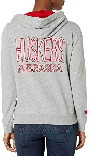 e5Damen NCAA Full Zip Hoodie, Nebraska, Grau, L