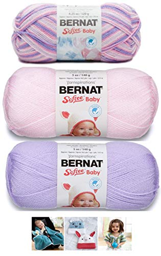 (Bernat Softee Baby Acrylic Yarn 3 Pack Bundle Includes 3 Patterns DK Light Worsted #3 Pink Purple White (Spring Flowers Mix 2))