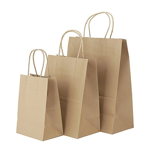 5x3x8''&8x4.75x10''&10x5x13''- 50Pcs Each Size - Halulu Brown Kraft Paper Bags, Shopping, Mechandise, Party, Gift Bags - Total 150Pcs by GSSUSA