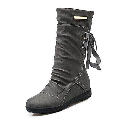 RTRY Zapatos De Mujer Polipiel Otoño Invierno Del Tobillo Botas De Nieve Botas De Moda Botas De Tacón Cuña Plataforma Puntera Redonda Lace-Up Mid-Calf Botas Para US8.5 / EU39 / UK6.5 / CN40