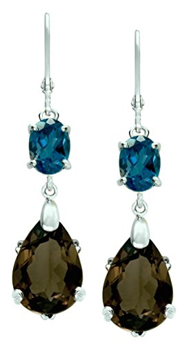 RB Gems Sterling Silver 925 Earrings GENUINE GEMS Pear Shape 14 Cts RHODIUM-PLATED Finish DANGLING Style (smoky-quartz)