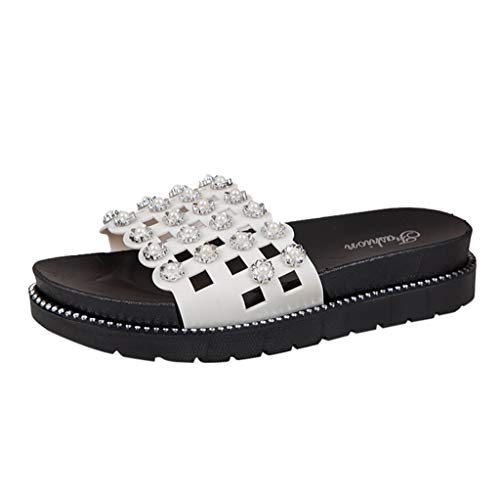 (FengGa Decoration Hollow Out Slippers Ladies Flower Pattern Rhinestone Sandals Thick Mid Heels Durable Sandals White)