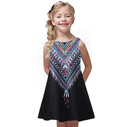 iFOMO Girls Kids Tank Dress A-Line Sleeveless Boat Neck Floral Print Black Height:115-120cm -