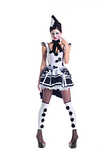 Party King Women's Pierrot Sad Clown Costume Dress, White/Black, X-Large ()
