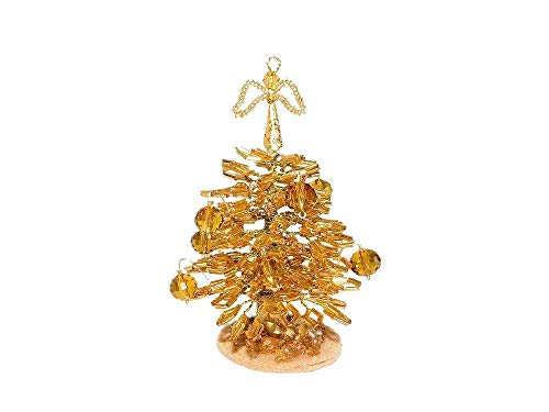 """3.2"""" Beaded Mini Gold Christmas Tree with Bow Topper & Ornaments. Handmade Christmas Gift. Holiday Office Home Decoration. Stuffing Stocker"""