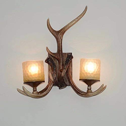 EFFORTINC Rustic Deer Horn Antler Wall Sconce 2 Light Fixtures (Tahoe Wall Lighting)